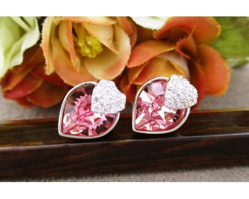 Серьги Xuping с розовыми кристаллами Swarovski родиум 10007898