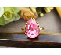 Кольцо Xuping с розовым кристаллом Swarovski позолота 18К 10008706