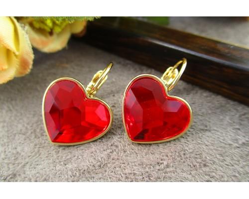 Серьги Xuping с красными кристаллами Swarovski позолота 18К 1834000