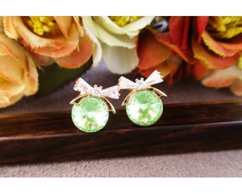 Серьги Xuping с светло-зелеными кристаллами Swarovski позолота 18К 4627000