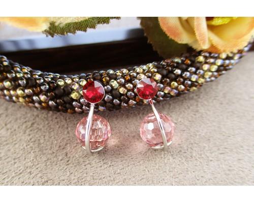 Серьги Xuping с светло-розовыми кристаллами Swarovski родиум 9742000